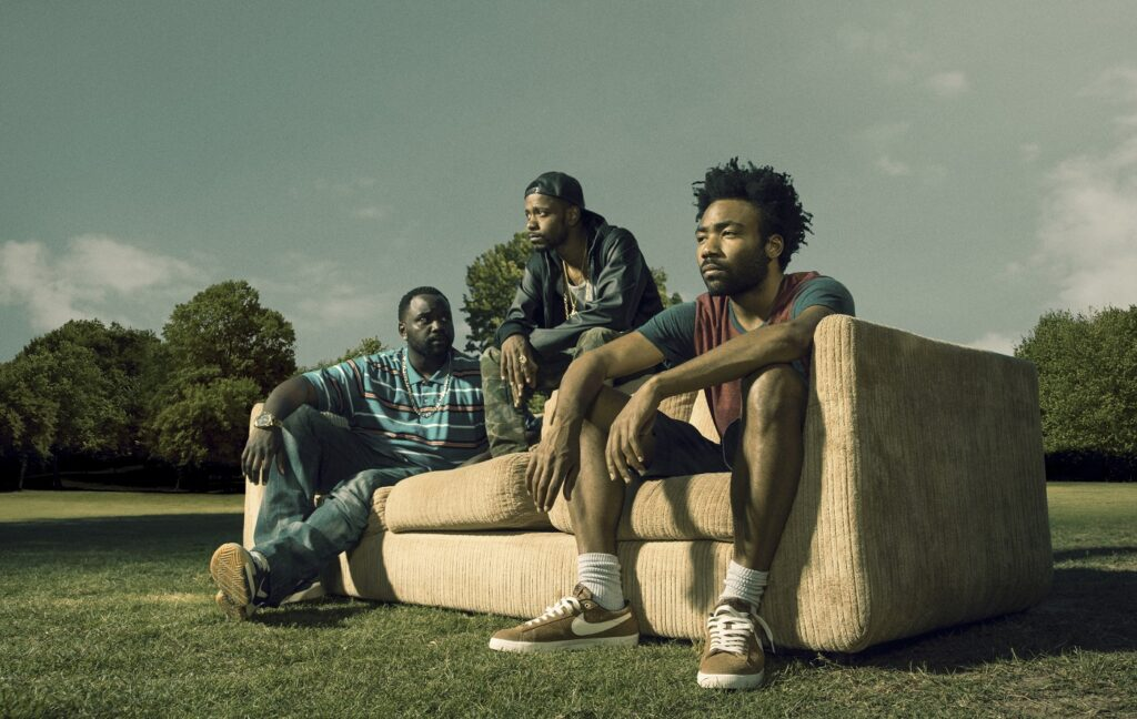 ATLANTA -- Pictured: (l-r) Brian Tyree Henry as Alfred Miles, Keith Standfield as Darius, Donald Glover as Earnest Marks. CR: Matthias Clamer/FX