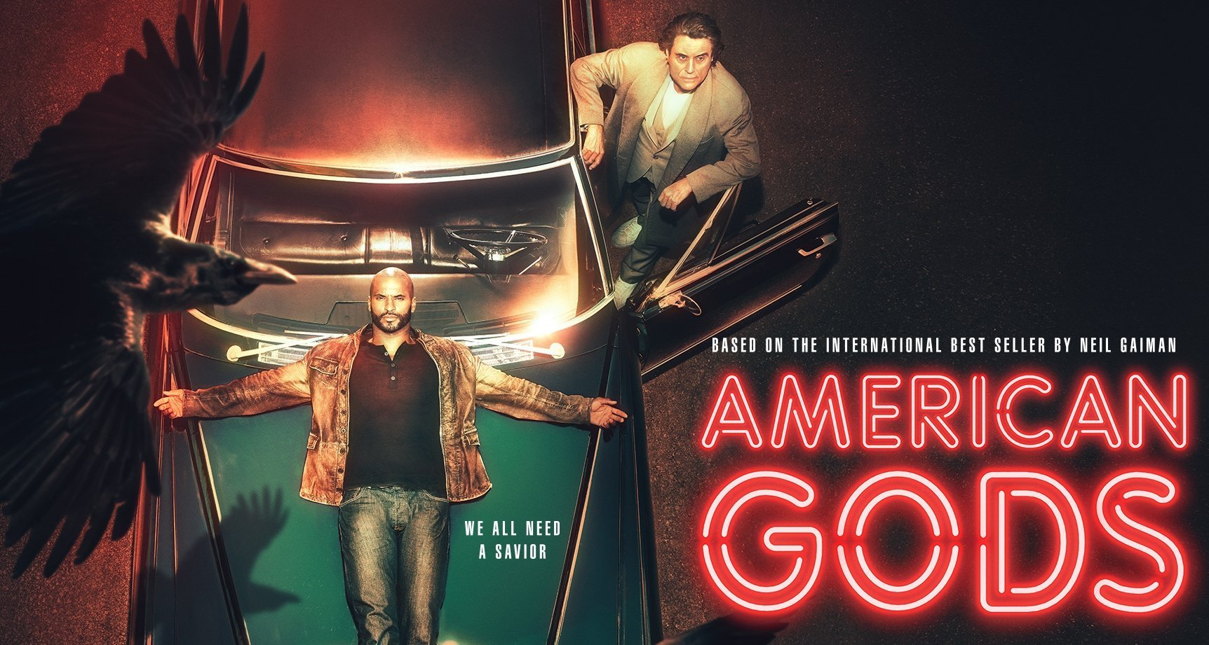 Ricky Whittle and Ian McShane in American Gods Season 2