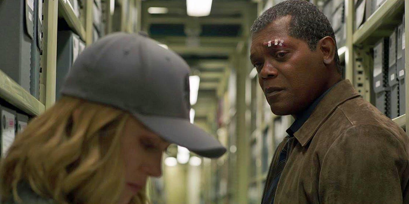 Brie Larson and Samuel L. Jackson in Captain Marvel