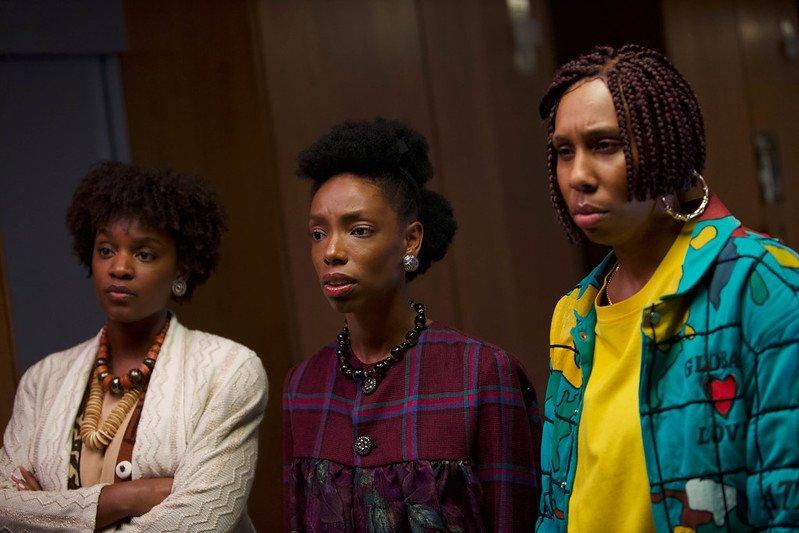 Yaani King Mondschein, Elle Lorraine, and Lena Waithe in Bad Hair, Sundance 2020